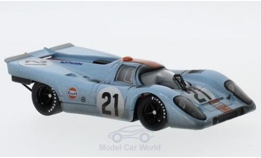 Porsche 917 K 1/43 Brumm K RHD No.21 JWA-Gulf Racing Team Gulf 24h Le Mans 1970 mit Rennspuren P.Rodriguez/L.Kinnunen miniature