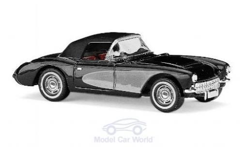 Chevrolet Corvette 1/87 Busch C1 Convertible schwarz/grau 1956 mit Softtop modellautos