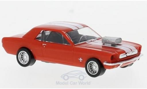 Ford Mustang 1/87 Busch hellrouge/blanche Tuning miniature