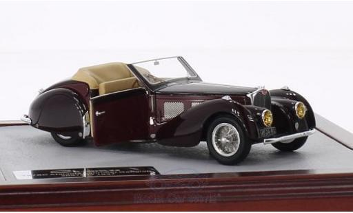 Bugatti 57 SC 1/43 Chromes Type Atalante Cabriolet Gangloff marron/rouge RHD 1937 miniature