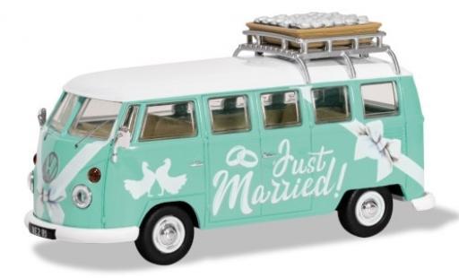 Volkswagen T1 1/43 Corgi Camper turquoise/Dekor RHD Just Married diecast model cars