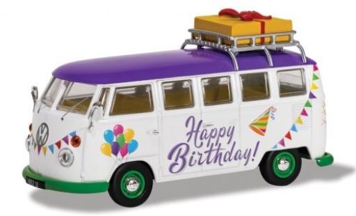Volkswagen T1 1/43 Corgi Camper white/Dekor RHD Happy Birthday