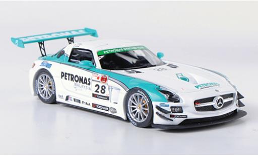 Mercedes SLS 1/43 Ebbro AMG GT3 No.28 Petronas Synthium 12h Merdeka 2011 M.Moh/T.Kataoka/J.Lester/R.Ritchie miniature