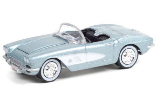 Chevrolet Corvette 1/64 Greenlight 283/315 (C1) metallise bleue/blanche 1961 miniature