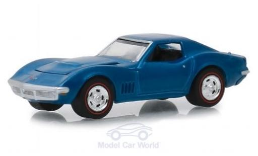 Chevrolet Corvette C3 1/64 Greenlight L 88 metallic-blu 1968 miniatura