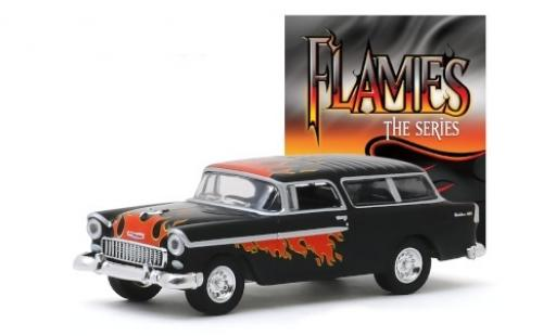 Chevrolet Nomad 1/64 Greenlight Tuning noire/Dekor Flames - The Series 1955 miniature