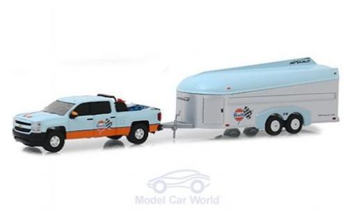 Chevrolet Silverado 1/64 Greenlight Gulf 2017 with Aerovault Trailer miniature