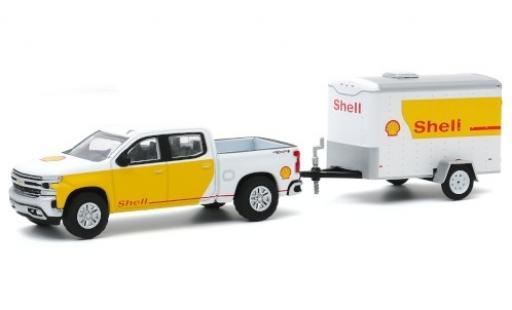 Chevrolet Silverado 1/64 Greenlight blanche/Dekor S 2019 avec Einsachs-remorque miniature