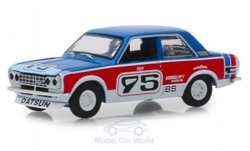 Datsun 510 1/64 Greenlight bleue/rouge 1973 miniature