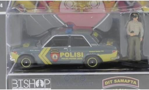 Datsun 510 1/64 Greenlight Polisi - Dit Samapta - Korps Sabhara mit Figur Polizei Indonesien miniature