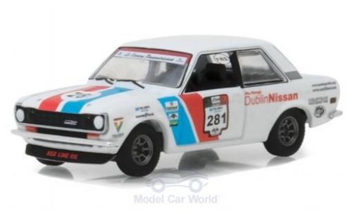 Datsun 510 1/64 Greenlight Rally white 1972 diecast