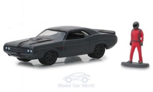 Dodge Challenger 1/64 Greenlight Shakedown Tribute grise 1971 mit Figur miniature