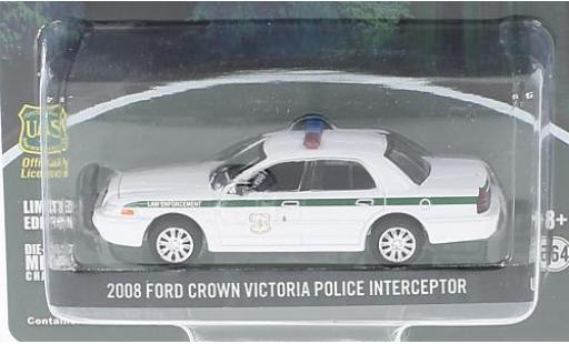 Ford Crown 1/64 Greenlight Victoria Police Interceptor blanche U.S.Forest Service 2008 miniature