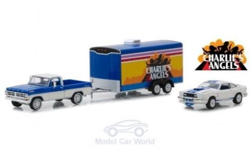 Ford F-1 1/64 Greenlight 00 Charlies Angels 1976 mi Anhänger und Mustang II Cobra II miniature