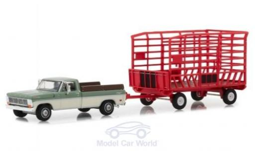 Ford F-1 1/64 Greenlight 00 Farm & Ranch oliv/blanche 1969 mit Transportanhänger miniature