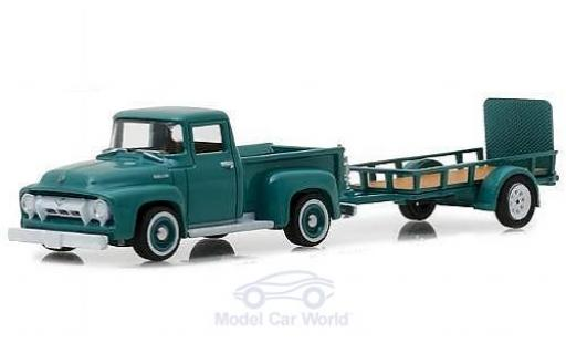 Ford F-1 1/64 Greenlight 00 türkis 1954 mit Anhänger miniature