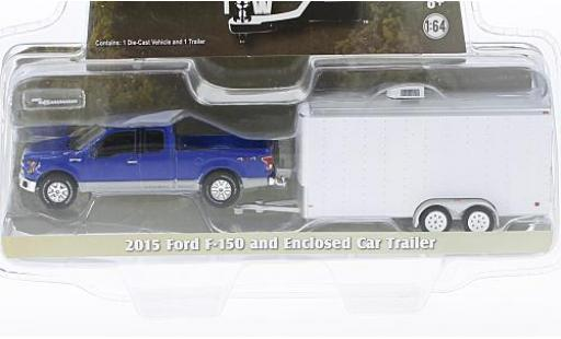 Ford F-1 1/64 Greenlight 50 blue 2015 avec Remorque porte-voiture diecast model cars