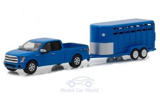 Ford F-1 1/64 Greenlight 50 bleue 2016 mit Viehanhänger miniature