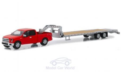 Ford F-1 1/64 Greenlight 50 rouge 2017 mit Gooseneck Trailer miniature