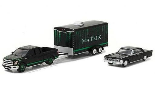 Ford F-1 1/64 Greenlight 50 noire/verte 2015 with 1995 Lincoln Continental and Enclosed Trailer miniature
