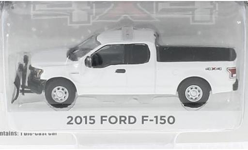 Ford F-1 1/64 Greenlight 50 white 2015 avec Chasse-neige diecast model cars