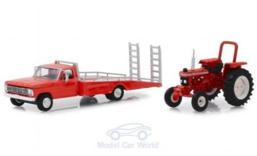 Ford F-350 1/64 Greenlight F 350 rouge 1969 Ramp Truc + 5610 Tractor miniature