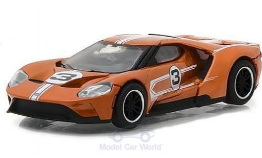 Ford GT 1/64 Greenlight orange 2017 1967 #3 40 Mk IV Tribute miniature