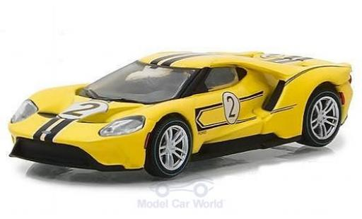 Ford GT 1/64 Greenlight jaune 2017 1967 #2 40 Mk IV Tribute miniature