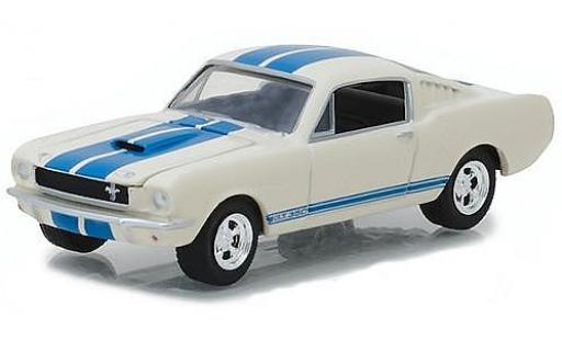Ford Mustang 1/64 Greenlight Shelby GT350 Fastback blanche/bleue 1965 miniature