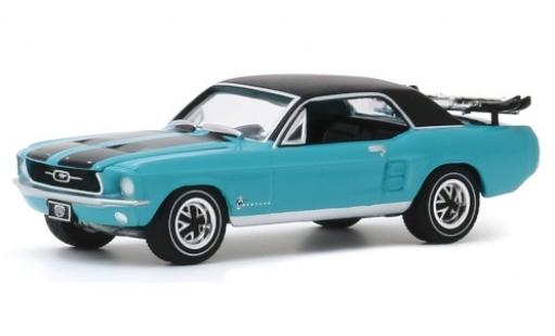 Ford Mustang 1/64 Greenlight Ski Country Special turquoise/matt-noire 1967 miniature
