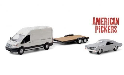 Ford Transit 1/64 Greenlight LWB HD blanche American Pickers 2015 avec Zweiachsanhänger et 1970 Chevrolet Chevelle Malibu miniature