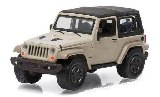 Jeep Wrangler 1/64 Greenlight 75th Anniversary blanche/noire miniature