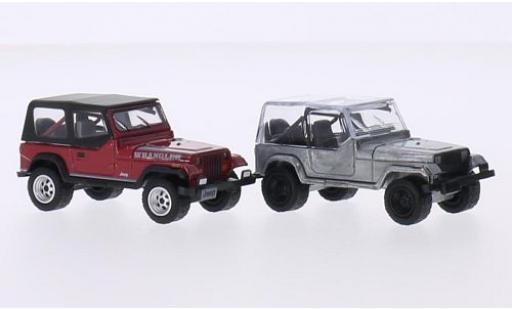 Jeep Wrangler 1/64 Greenlight rouge/aluminium 1987 2er-Set miniature
