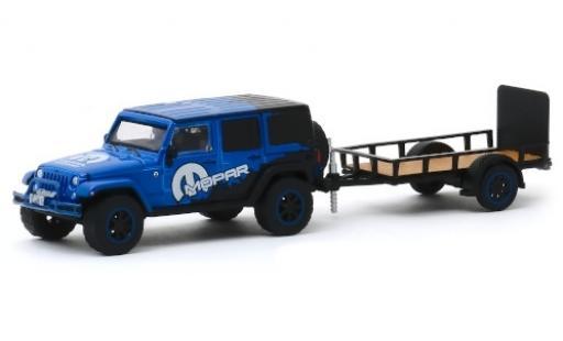 Jeep Wrangler 1/64 Greenlight Unlimited MOPAR 2012 avec remorque d´une axe miniature