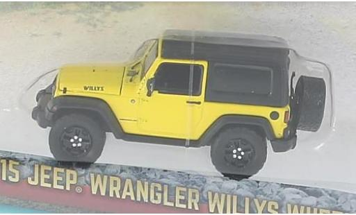 Jeep Wrangler 1/64 Greenlight Willlys Wheeler jaune/noire 2015 miniature