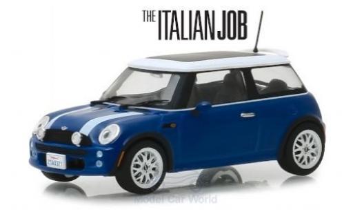 Mini Cooper 1/43 Greenlight bleue/blanche RHD The Italian Job 2003 miniature