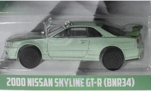 Nissan Skyline 1/64 Greenlight GT-R (BNR34) metallise verde Turtle Wax 2000 modellino in miniatura