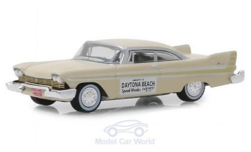 Plymouth Fury 1/64 Greenlight beige Daytona Beach Speed Weeks 1957 miniature