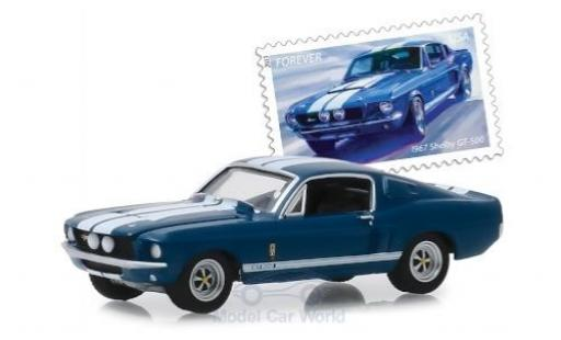 Shelby GT 1/64 Greenlight 500 metallise bleue/blanche 1967 miniature