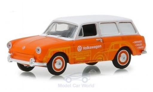 Volkswagen 1600 1/64 Greenlight Variant orange/blanche 1966 miniature