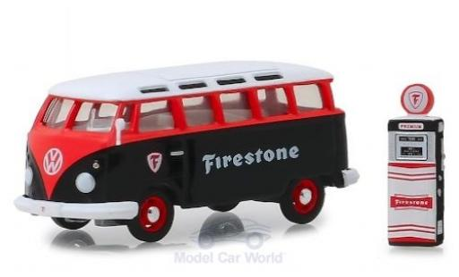 Volkswagen T1 1/64 Greenlight Samba Bus black/red Firestone 1964 mit Zapfsäule diecast