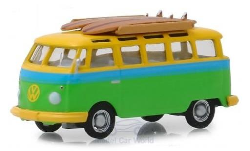 Volkswagen T1 1/64 Greenlight Samba green/yellow 1964 diecast model cars
