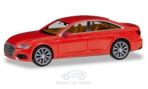 Audi A6 1/87 Herpa Limousine rouge mit zweifarbigen Felgen miniature