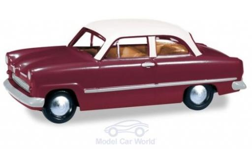 Ford Taunus 1/87 Herpa 12M rouge/blanche miniature