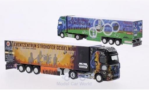 Mercedes Actros 1/87 Herpa Autohof Strohofer / Wolf Transporte Kühlkoffer-SZ in PC-Box miniatura