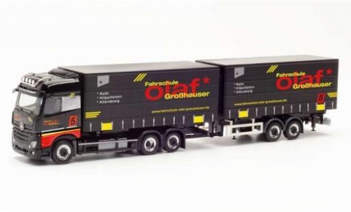 Mercedes Actros 1/87 Herpa BigSpace rouge Fahrschule Olaf Großhauser Tandem-bache de camion-camion avec remorque