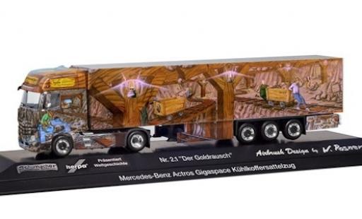 Mercedes Actros 1/87 Herpa Gigaspace Der Goldrausch Kühlkoffer-Sattelzug Herpa Weltgeschichte Nr. 2.1 diecast