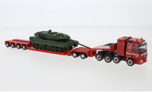 Mercedes Actros 1/87 Herpa Markewitsch 2002 charge profondeur-tracteur avec Leopard 2A7 miniature