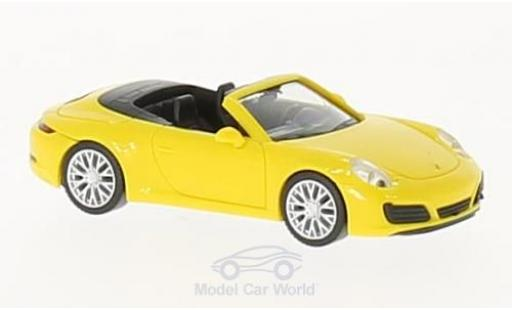 Porsche 991 4S 1/87 Herpa 911  Carrera Cabrio yellow diecast model cars