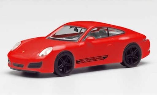 Porsche 911 1/87 Herpa Carrera 4S rojo/negro avec noire jantes miniatura